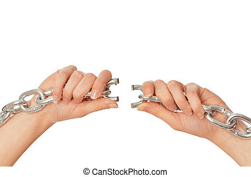 tearing a heavy chain - woman tearing a heavy chain by hands...
