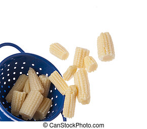 Baby Corn Spilling from a Blue Colander Border on White.