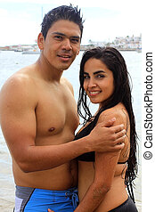 couple on beach in mexico