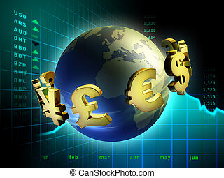 Currency world - Currency symbols moving around planet Earth...