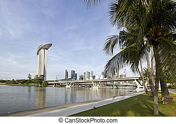 Singapore City Skyline from the Park by the River