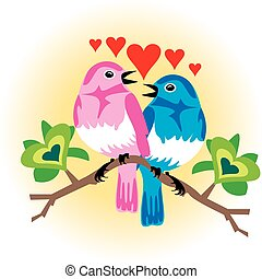 Love Birds - Vector Illustration of 2 love birds with...