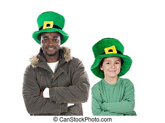 Child and man whit hat of Saint Patricks Day celebration