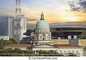Singapore Parliament Building and Supreme Law Court -...