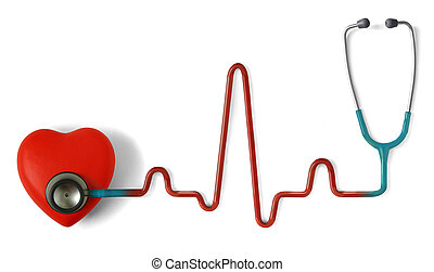 Heartbeat - Heart and a stethoscope with heartbeat (pulse)...