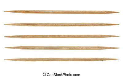Five single toothpicks, isolated on white