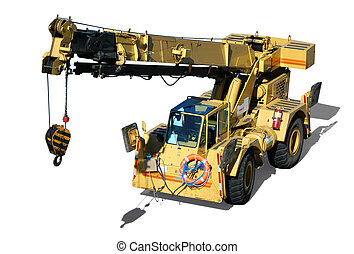 Mobile Crane - A mobile crane isolated in white