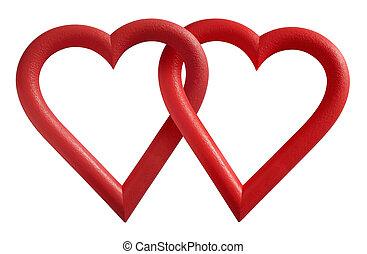 Love - Two interlocking valentine hearts