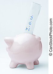 Empty Piggy Bank - A pink piggy bank with an I.O.U. slip...