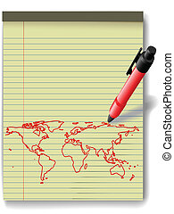 Pen drawing World Map on Legal Pad Paper red ink - Pen...