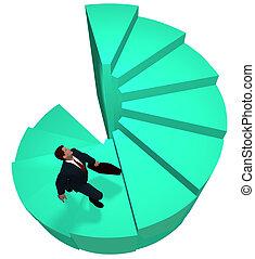 Business man climbs to top spiral success steps