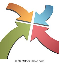 Four curve color 3D arrows converge point center - Four...