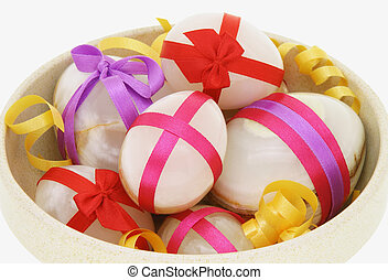Decorated Easter eggs in a bowl - Egg shaped semiprecious...