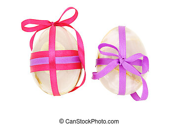 Two decorated Easter eggs - Two egg shaped semiprecious...