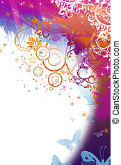 Abstract floral banner with silhouette and space for text