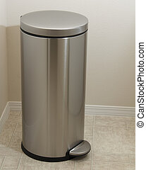 Stainless Steel Laundry Bin - Muted gray metal cylindar with...