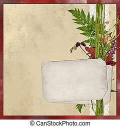 Old paper card with flowers and lace on shabby  backgruond