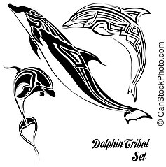 dolphin tribal set - The vector image of sets of dolphins in...