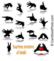 Fourteen gestures of hands