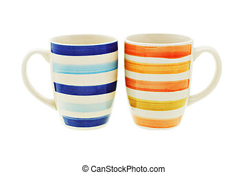 Coffee mugs - Colorful coffee mugs on white background