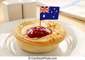 Aussie Meat Pie - Australian flag on the classic Australian...