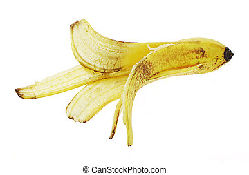 Discarded banana skin on white background