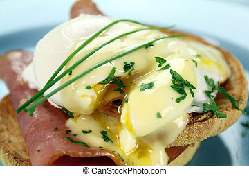 Eggs Benedict - Delicious breakfast of eggs benedict with...