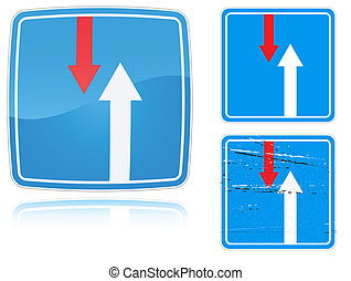 Variants advantage over oncoming traffic road sign - Set of...