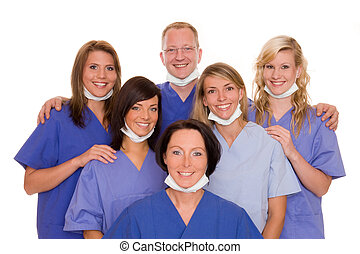 health - doctor with five nurses
