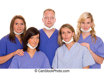 health - doctor with three nurses