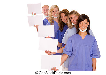 health - doctor with four nurses