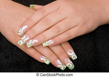 manicure - beautiful hands with fresh manicured nails