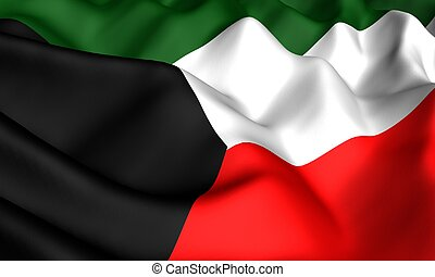 Flag of Kuwait. Close up. Front view.