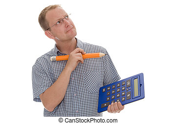 business - man with pencil and pocket calculator