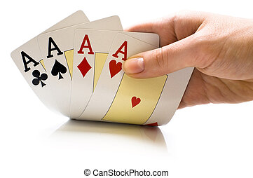 playing cards - a man's hand holding new playing cards