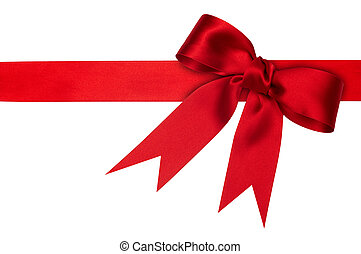 red ribbon - holiday red ribbon on the white background