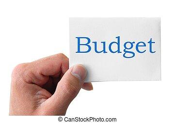 Asimiento, palabra, presupuesto, mano