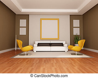 modern lounge - living room with modern couch and two orange...