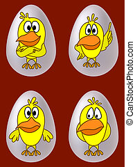 Chickens in eggs