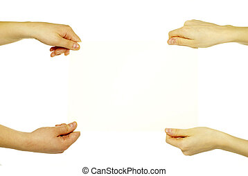 hands and paper - Hands and paper banner isolated on white...