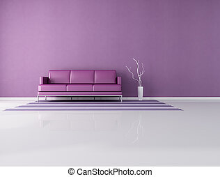 minimalist purple interior - leather modern couch in front a...