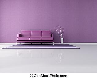 minimalist purple interior