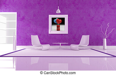 purple love lounge with two fashion withe armchair- the art...
