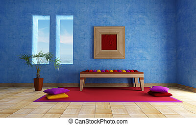 mediterranean blue living room with ethnic bench carpet and...