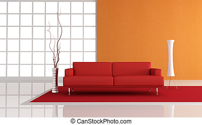 red and orange living room - red leather sofa in fron of a...