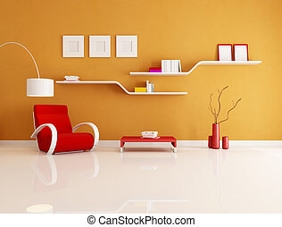 reading room - contemporary orange and red reading room -...