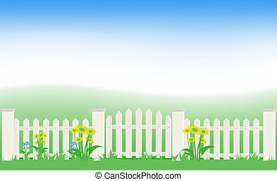 Grass and fence under blue sky. Vector Illustration. EPS8