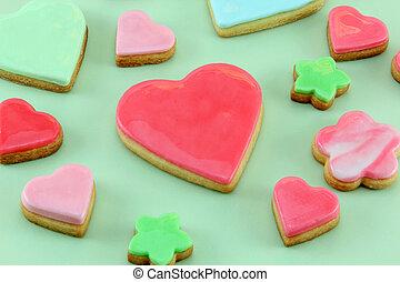 心, クッキー, 花,  &, 形づくられた