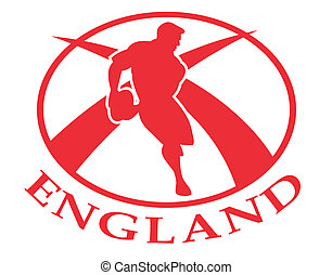 England rugby player passing ball - illustration of a rugby...