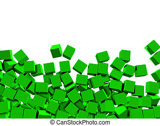 3d green cubes on white background